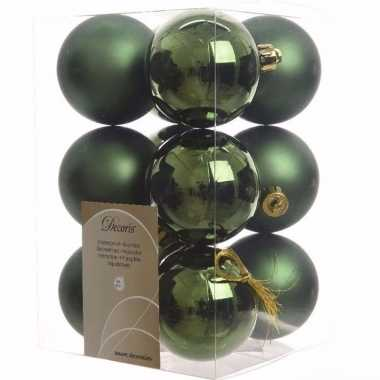 Ambiance christmas kerstboom decoratie kerstballen groen 12 stuks