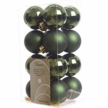 Ambiance christmas kerstboom decoratie kerstballen groen 16 stuks