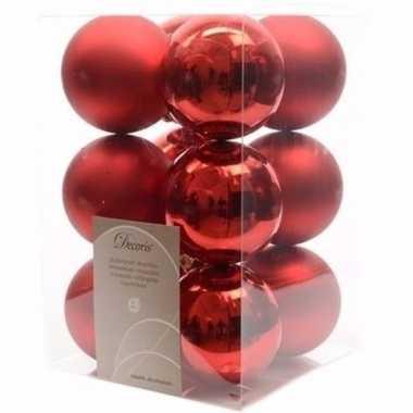 Ambiance christmas kerstboom decoratie kerstballen rood 12 stuks