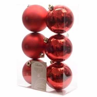 Ambiance christmas kerstboom decoratie kerstballen rood 6 stuks