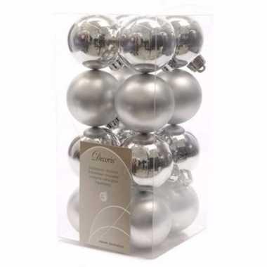 Ambiance christmas kerstboom decoratie kerstballen zilver 16 stuks