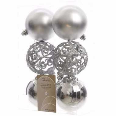 Ambiance christmas kerstboom decoratie kerstballen zilver 6 stuks