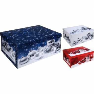 Blauwe kerstballen opbergdoos 49 cm