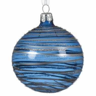 Blauwe kerstballen transparant 8 cm