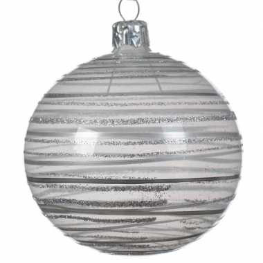 Champagne kerstballen transparant 8 cm