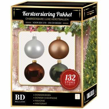 Champagne/wit/bruine/groene kerstballen pakket 132-delig voor 180 cm boom