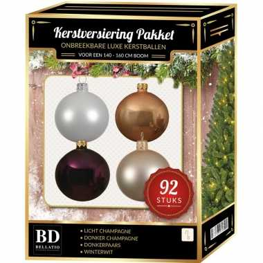 Champagne/wit/paarse kerstballen pakket 92-delig voor 150 cm boom