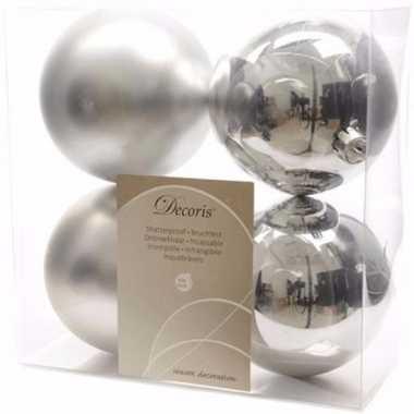 Chique christmas kerstboom decoratie kerstballen 10 cm zilver 4 stuks