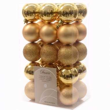 Chique christmas kerstboom decoratie kerstballen 6 cm goud 30 stuks