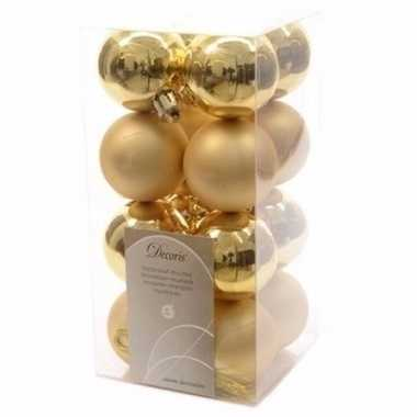 Chique christmas kerstboom decoratie kerstballen goud 16 stuks 10097155