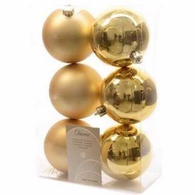 Chique christmas kerstboom decoratie kerstballen goud 6 stuks 10097305