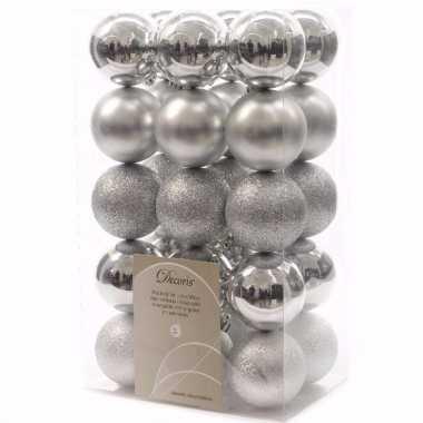 Christmas silver kerstboom decoratie kerstballen 6 cm zilver 30 stuks