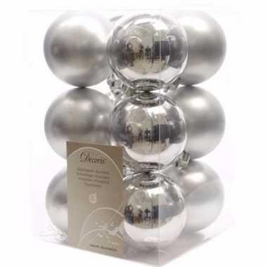 Christmas silver kerstboom decoratie kerstballen zilver 12 stuks