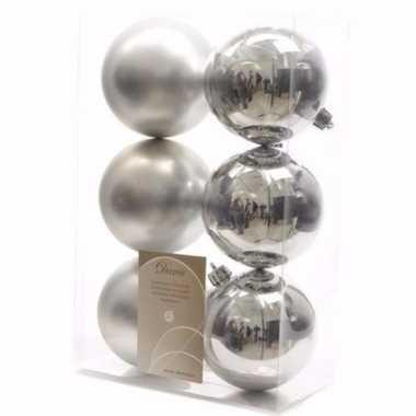 Christmas silver kerstboom decoratie kerstballen zilver 6 stuks