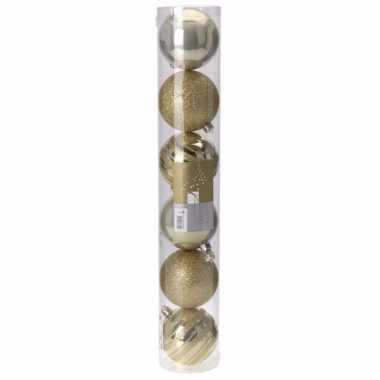 Classic gold kerstballen set plastic 6 stuks