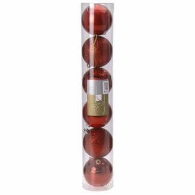 Classic red kerstballen set plastic 6 stuks