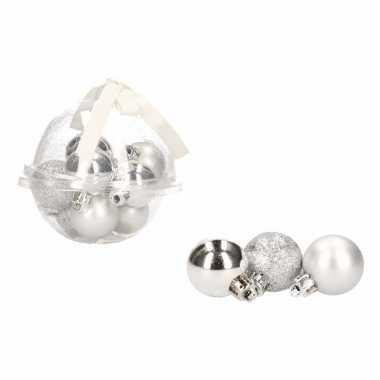 Classic silver 12-delige mini kerstballenset zilver 3 cm