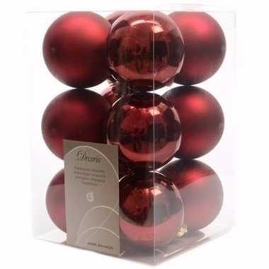 Cosy christmas kerstboom decoratie kerstballen donkerrood 12 stuks