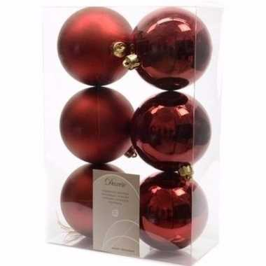 Cosy christmas kerstboom decoratie kerstballen donkerrood 6 stuks