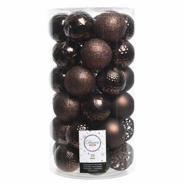 Donker bruine kerstballen set 6 cm 36 stuks
