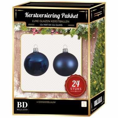 Donkerblauwe kerstversiering kerstballen 24 delig 6 en 8 cm
