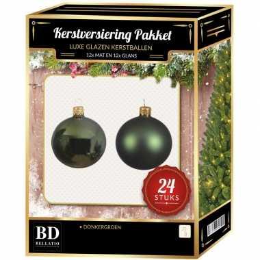 Donkergroene kerstversiering kerstballen 24-delig 6 cm