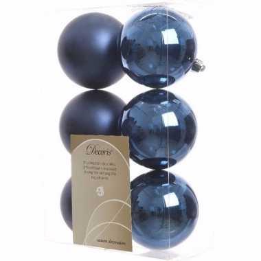 Elegant christmas kerstboom decoratie kerstballen blauw 6 stuks