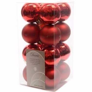 Elegant christmas kerstboom decoratie kerstballen rood 16 stuks 10097164