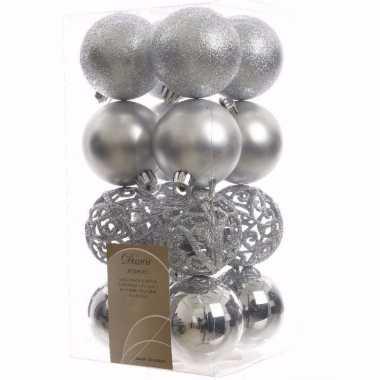 Elegant christmas kerstboom decoratie kerstballen zilver 16 stuks