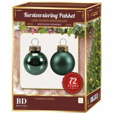 Emerald groene kerstballen pakket 72 delig christmas emerald greenlake glass