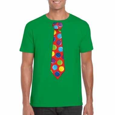 Foute kerst shirt met kerstballen stropdas groen voor heren