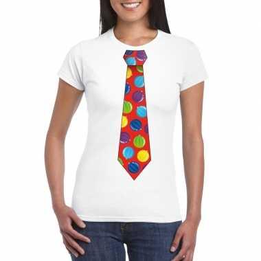 Foute kerst shirt met kerstballen stropdas wit voor dames