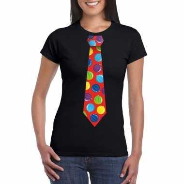 Foute kerst shirt met kerstballen stropdas zwart voor dames