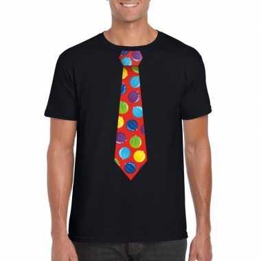 Foute kerst shirt met kerstballen stropdas zwart voor heren