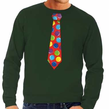 Foute kerst sweater met kerstballen stropdas groen voor heren