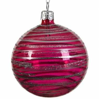 Fuchsia roze kerstballen transparant 8 cm