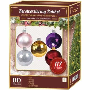 Gekleurde kerstballen pakket 117-delig voor 150 cm boom