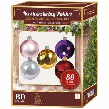 Gekleurde kerstballen pakket 88-delig voor 120 cm boom