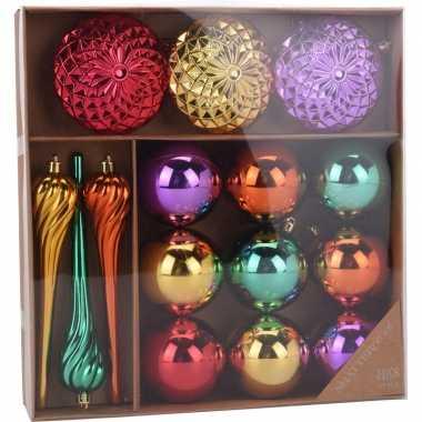 Gekleurde kerstversiering kerstballen 15 delig