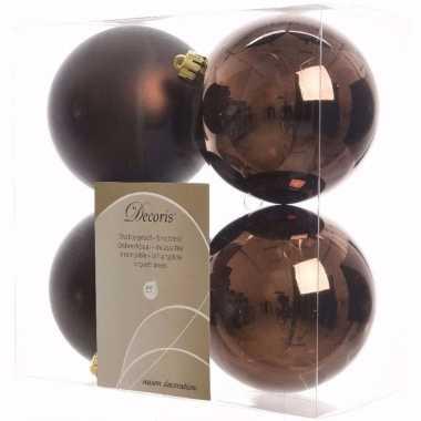 Glamour christmas kerstboom decoratie kerstballen 10 cm bruin 4 stuks
