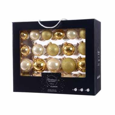 Glazen kerstballen mix goud/champagne 42 delig glimmend en glitter