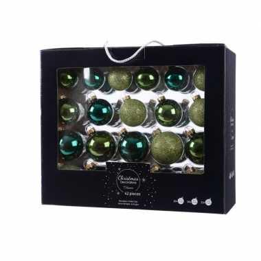 Glazen kerstballen mix groen 42 delig glimmend en glitter