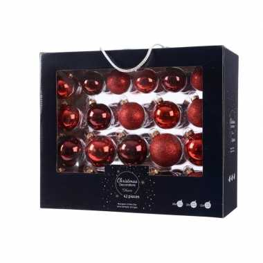 Glazen kerstballen mix rood 42 delig glimmend en glitter