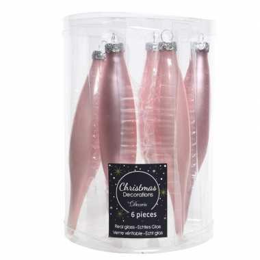 Glazen kerstballen pegels roze 15 cm