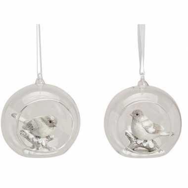 Glazen transparante kerstballen met vogel 9 cm