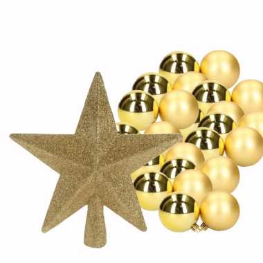Goud kerstboom versiering set 36 kerstballen en kerstster piek