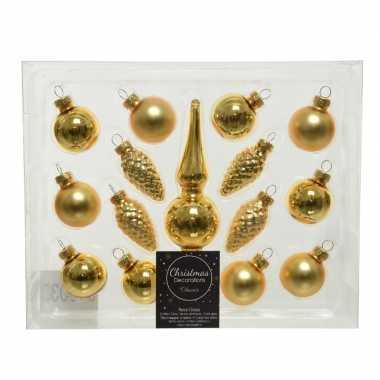Gouden glazen kerstballen en piek set voor mini kerstboom 15-dlg