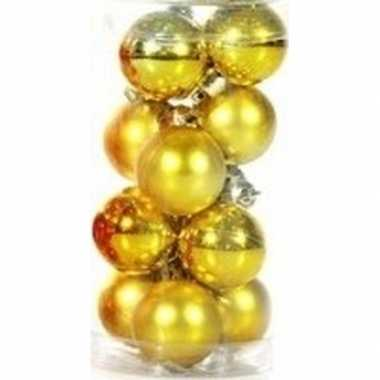 Gouden kerstballen 12 stuks 3 cm