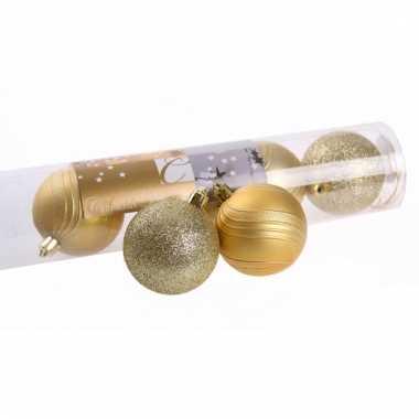 Gouden kerstballen glitter en mat