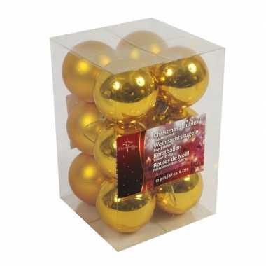 Gouden kerstballen onbreekbaar 12x stuks 6 cm